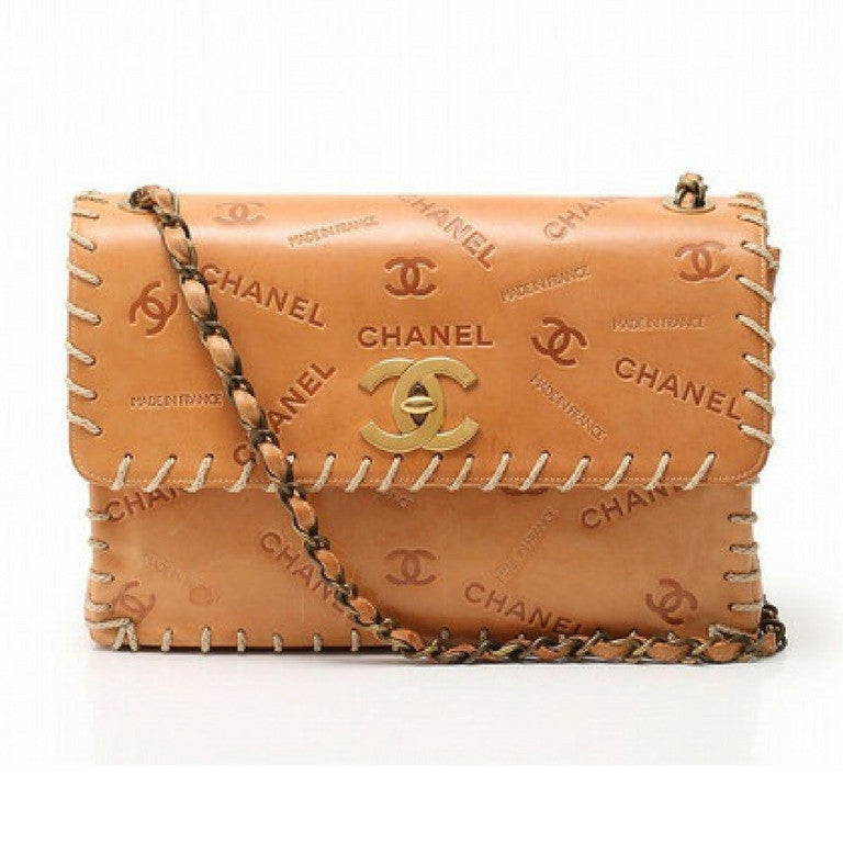 7d28c2b5445d30 Vintage CHANEL tan brown allover logo embossed leather jumbo, large 2.55  shoulder bag with large