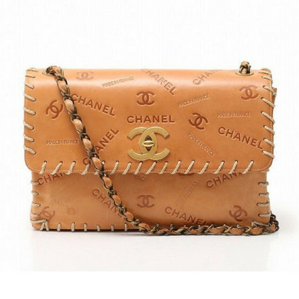 5388f3480f363f Vintage CHANEL tan brown allover logo embossed leather jumbo, large 2.55 shoulder  bag with large ...