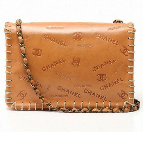 bbaef3e8d302 ... Vintage CHANEL tan brown allover logo embossed leather jumbo, large  2.55 shoulder bag with large ...