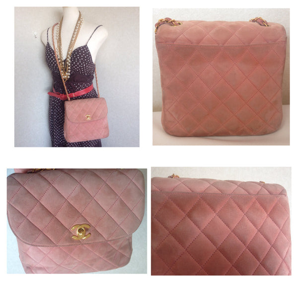 Very Vintage CHANEL light pink quilted suede 2.55 shoulder bag with gold  tone chain strap. 699c3125c9410
