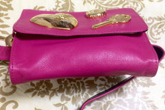 Vintage MOSCHINO pink leather waist purse, fanny bag, clutch bag with large golden heart and key motifs. So chic and mod.