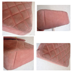 Vintage CHANEL light pink quilted suede 2.55 shoulder bag with gold tone chain strap. Very nice and soft classic purse.