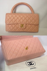 Vintage CHANEL milky pink color lambskin classic 2.55 handbag purse with golden CC. Rare color classic bag