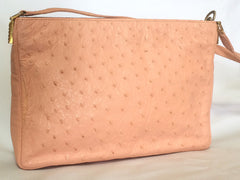 Vintage BALLY genuine milky pink ostrich leather shoulder bag with B logo motif and gathered design at front. Rare masterpiece.