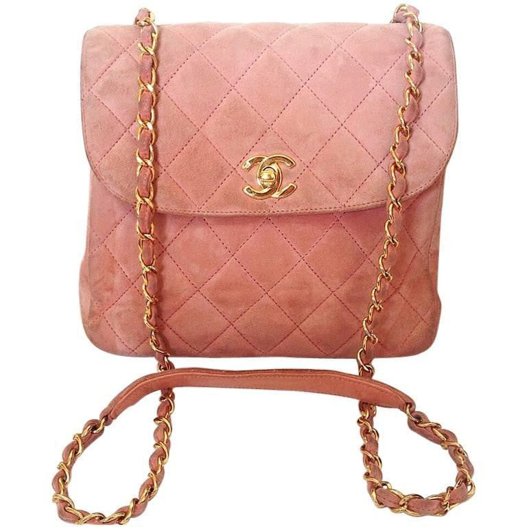 Vintage CHANEL light pink quilted suede 2.55 shoulder bag with gold tone  chain strap. Very f24b4ca9badc5