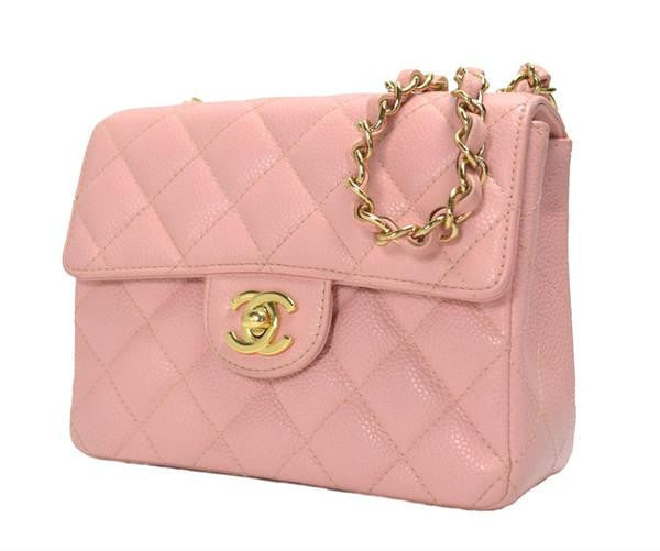 b39e360ccdcd Vintage CHANEL milky pink caviar leather flap chain shoulder bag, classic  2.55 mini purse with