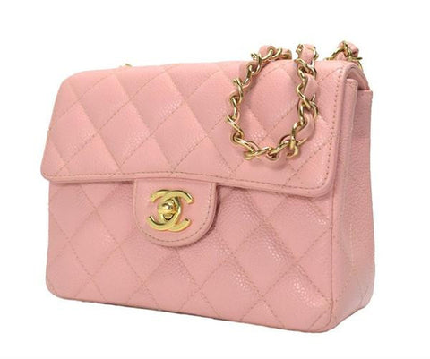 Vintage CHANEL milky pink caviar leather flap chain shoulder bag, classic 2.55 mini purse with gold tone CC closure hock