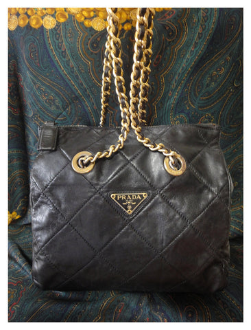 SOLD OUT: Vintage Prada black quilted genuine nappa leather chain shoulder tote bag. Classic purse back in the era.