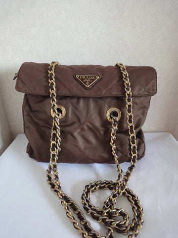 SOLD OUT: Vintage Prada quilted nylon brown shoulder bag with gold tone chain handles. Must have.