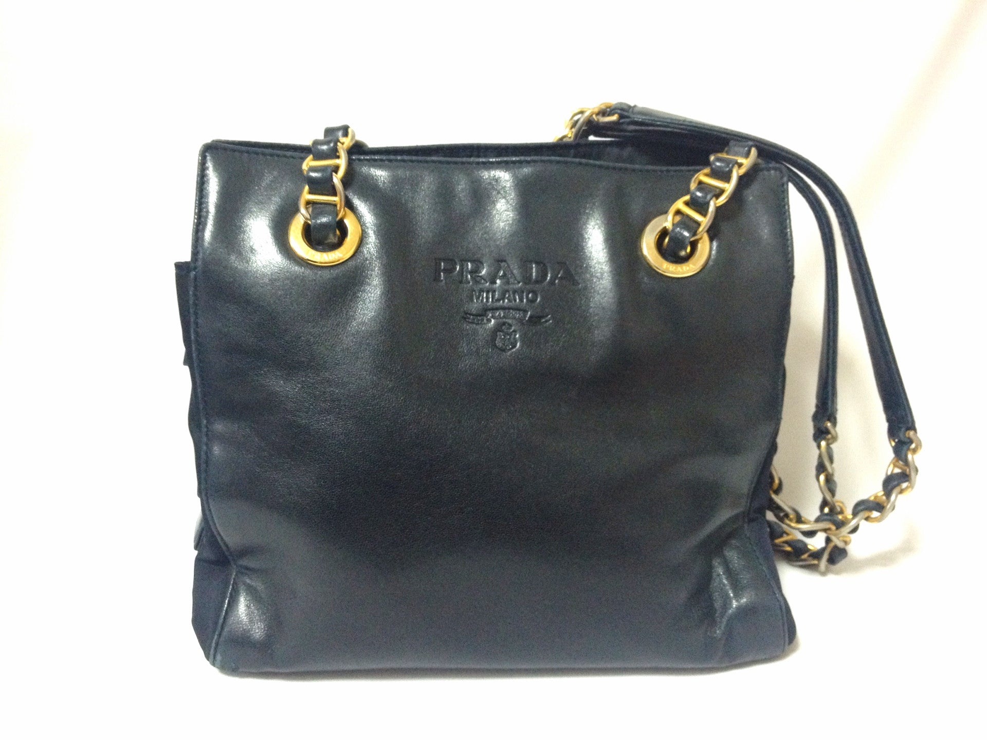 fdaad69cf31 ... wholesale vintage prada genuine dark navy nappa leather chain shoulder  tote bag with double chain straps