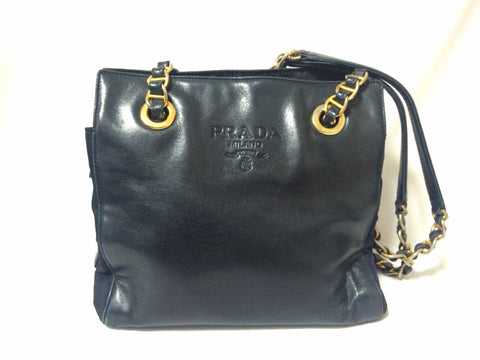 Vintage Prada genuine dark navy nappa leather chain shoulder tote bag with double chain straps. Classic purse back in the era.