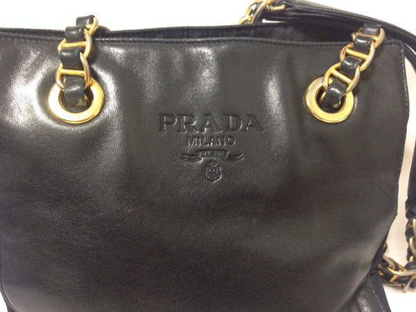 98b5eb1c0233 Vintage Prada genuine dark navy nappa leather chain shoulder tote bag with  double chain straps.