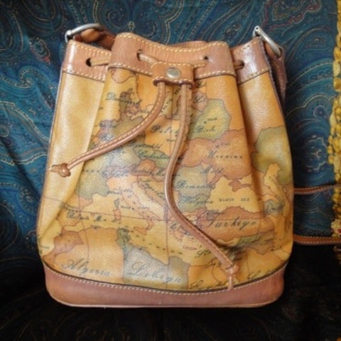 SOLD OUT: Vintage Alviero Martini, Prima Classe Europe, Middle East, North Africa map focused bucket hobo style purse.