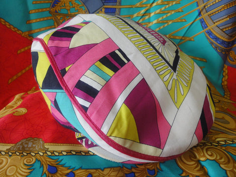 Vintage Emilio Pucci cotton flat hat in pink, purple. yellow, blue, white, multicolor geometric print. Colorful cap