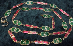 70's, 80's Vintage Roberta di Camerino rare orange and green colorful and golden chain jewelry logo charm long necklace and belt.