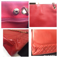 Vintage CHANEL lipstick red calf leather large tote bag with gold tone chains and round CC charm. Classic shopper purse