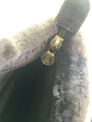 80's vintage FENDI dark brown large leather clutch purse, pouch, toiletry bag with genuine rabbit fur collar with pom pom.