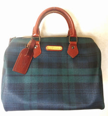 Vintage Ralph Lauren green tartan-checked purse in speedy bag style. Green check mini duffle bag for daily use.
