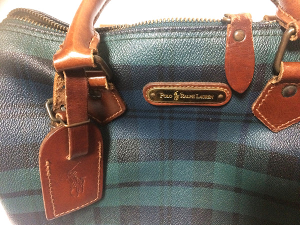 b3ce8040450d Green check mini Vintage Ralph Lauren green tartan-checked purse in speedy bag  style.