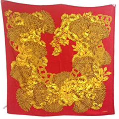 Vintage CHANEL red and gold color CC marks, rose, wheat, and chain pattern large silk scarf. Gorgeous wrapping. Flower