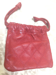 80's Vintage CHANEL red goatskin mini jewelry, cosmetics pouch, can be  bill, card purse with mini CC motif. Great vintage gift