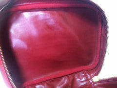 Vintage CHANEL lipstick red caviar leather cosmetic and toiletry pouch, makeup case bag. Very chic vanity purse. Must have.