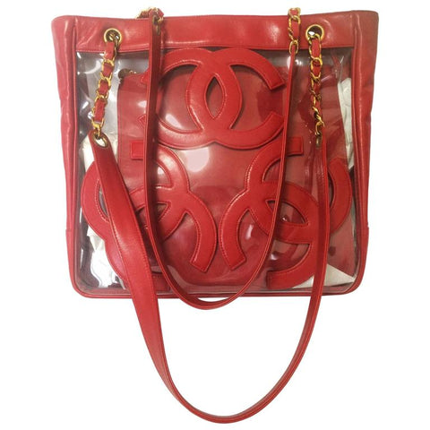 Vintage CHANEL clear vinyl and red leather combination shoulder purse 4f31f96a87a5b