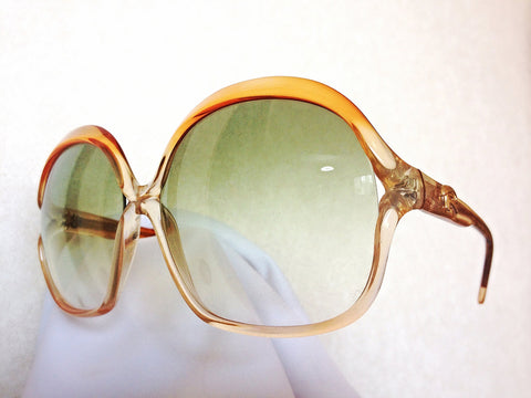 MINT. 60's, 70's vintage Rodenstock large, round oversized orange frame sunglasses with green lenses, rare masterpiece from Lady Line.