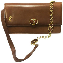 70's vintage Roberta di Camerino brown genuine leather purse with R cham chains. A rare masterpiece