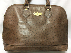 80's Vintage Roberta di Camerino ostrich embossed brown leather bag in Alma style with gold tone R charms. Rare masterpiece.