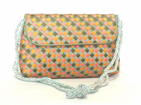 Vintage Bottega Veneta woven satin, classic intrecciato handbag purse in pink, orange, light blue, and green color. Can be clutch pouch.