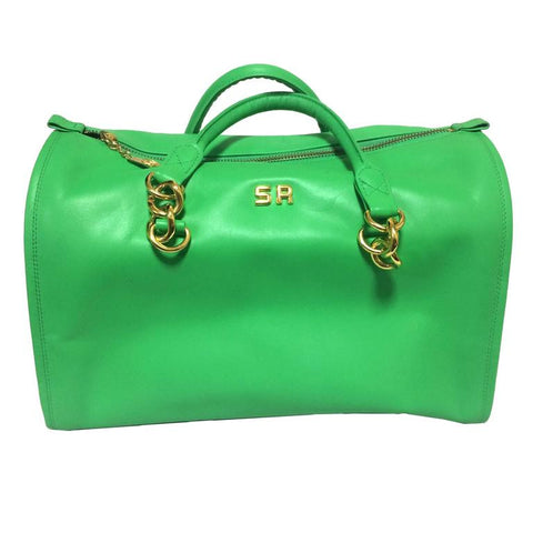 Vintage SONIA RYKIEL green leather handbag purse in speedy bag style with gold tone logo. Great daily use bag.