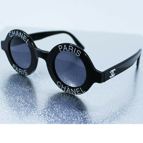 Vintage CHANEL black round frame mod sunglasses with white CHANEL PARIS print