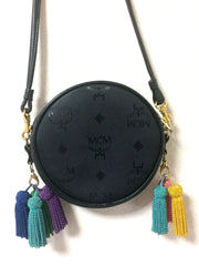 Vintage MCM black monogram Suzy Wong mini shoulder purse with multicolor fringes, designed by Michael Cromer. Made in West Germany.