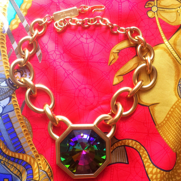 16c253c489d Vintage Yves Saint Laurent golden chain statement necklace with extra large  octagonal pyramid Swarovski ...