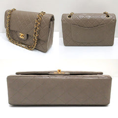 SOLD OUT: Vintage CHANEL taupe grey color lambskin classic double flap 2.55 shoulder purse with gold tone chain Straps