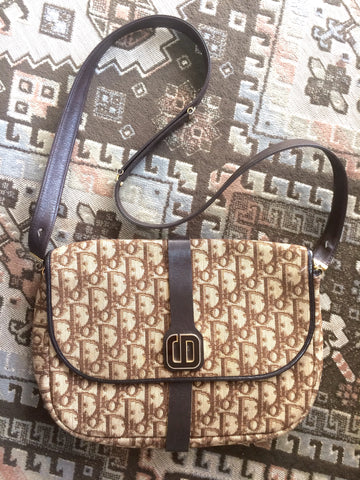 Vintage Christian Dior beige and brown trotter jacquard and leather combo shoulder bag with brown and gold tone CD motif.