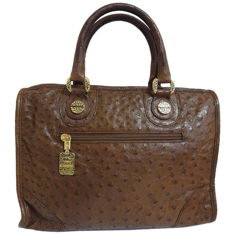 Vintage Borbonese by Red wall, genuine brown ostrich leather classic style tote bag with golden logo charm. Unisex use. Masterpiece