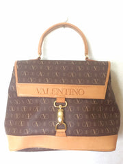 Vintage Valentino beige and brown shoulder handbag with leather trimming and logo print allover. Classic purse for any occasions.