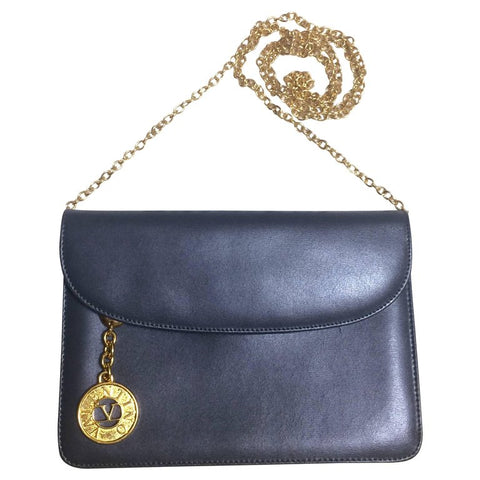 Vintage Valentino Garavani, gray leather chain shoulder bag with golden round V motif charm. Can be clutch bag as well.
