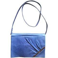 Vintage Valentino Garavani blue leather clutch shoulder bag with brown and golden logo plate at front. Gathered design.