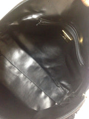 Vintage Valentino black nappa leather bolide style bag with a large V logo and a fringe. Rare purse from Valentino Les Sacs