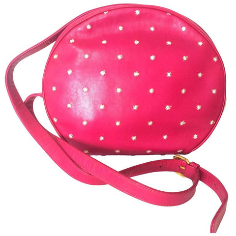 Vintage Valentino Garavani pink leather round shape shoulder purse with white small flower embroideries all over. So chic and cute.