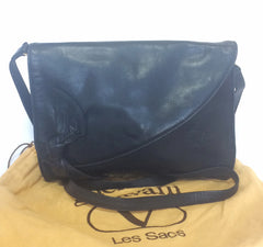 Vintage Valentino Garavani, dark navy nappa leather clutch purse, shoulder bag with tied bow, ribbon and V log motif at front.