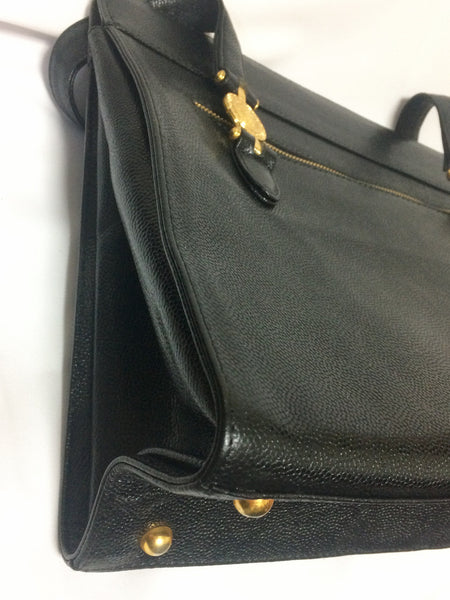 32fa8db0 Vintage Gianni Versace black leather tote bag with golden sunburst motifs.  Lady Gaga style shoulder bag for daily use.