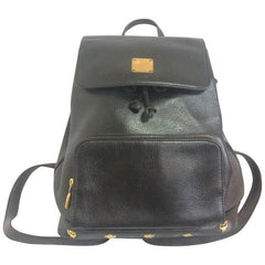 Vintage MCM black leather backpack with golden studded logo motifs. Designed by Michael Cromer. Unisex bag for daily use.