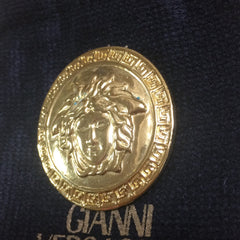 Vintage Gianni Versace  gold tone medusa motif round pin brooch. Can be hat, jacket pin etc too. Gorgeous and classic jewelry gift. Unisex.