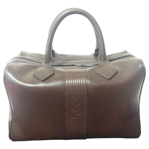 2fd88460232 Vintage Yves Saint Laurent genuine dark brown leather daily use duffle bag.  Classic unisex style