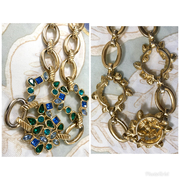 406f5fb5ef7 Vintage Yves Saint Laurent, YSL golden chain necklace with blue and green  stones.