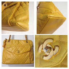 Vintage Chanel yellow caviar leather chain shoulder bag with golden CC closure. Lucky and good fortune color for you